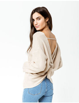 Sky And Sparrow V Neck Twist Back Tan Womens Sweater by Sky And Sparrow