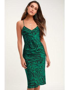 Safari Green Tiger Print Satin Midi Dress by Lulus