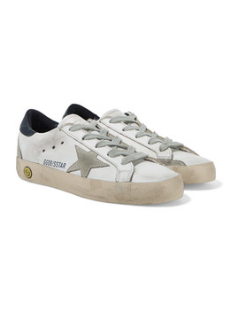 size-28---35-superstar-distressed-leather-and-suede-sneakers by golden-goose-deluxe-brand-kids