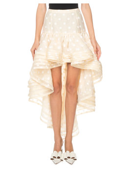 Flocked Dot Tiered Hem High Low Skirt by Marc Jacobs