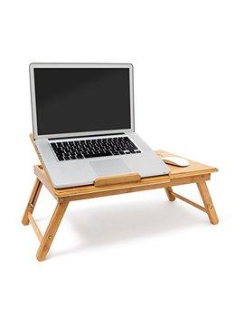 Relaxdays Tavolino Porta Notebook In Bambù, Con Sistema Di Ventilazione E Spazio Per Mouse E Ulteriori Accessori, H X B X T: 30.5 X 72.5 X 35 Cm, Naturale by Relaxdays