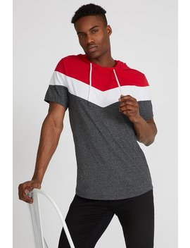 Colour Block Hooded T Shirt by Urban Planet