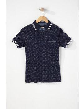 Boys Polka Dot Henley Varsity T Shirt by Urban Planet