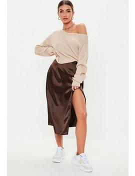 Chocolate Satin Wrap Midi Skirt by Missguided