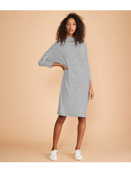 Lou & Grey Striped Turtleneck Signaturesoft Dolman Dress by Loft