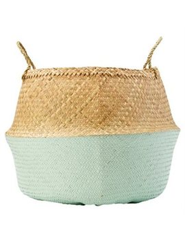 Seagrass Basket – Natural &Amp; Sky Blue by Bloomingville