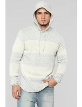 John Striped Pullover Hoodie   Grey by Fashion Nova