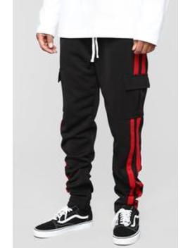 Post Cargo Track Pants   Black/Red by Fashion Nova