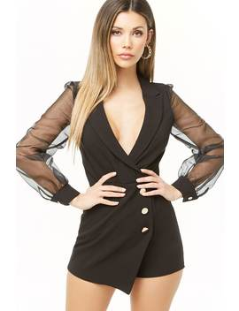 Notched Organza Sleeve Romper by Forever 21