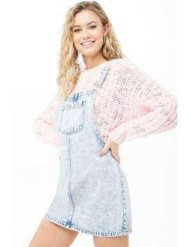 Acid Wash Mini Overall Dress by Forever 21