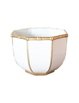 """Bamboo Style Decorative Bowl, White by [""""Dana Gibson""""]"""