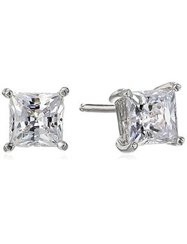 Platinum Or Gold Plated Sterling Silver Swarovski Zirconia Princess Cut Stud Earrings by Amazon Collection