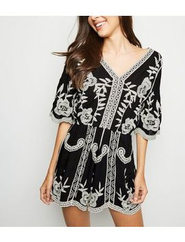 Black Crochet Playsuit by New Look