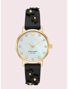Metro Floral Black Leather Watch by Kate Spade