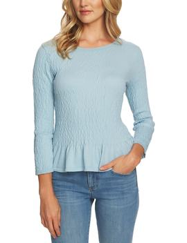 Textured Peplum Sweater by Cece