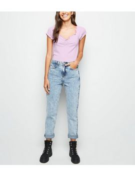 Light Purple Frill Edge Ribbed T Shirt by New Look