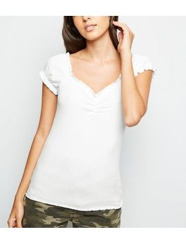 White Frill Edge Ribbed T Shirt by New Look