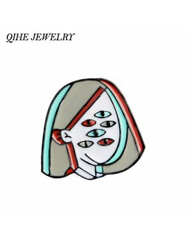 Qihe Jewelry Picasso Eyeball Face Women Enamel Pins Art Brooches Badges Lapel Pins Brooches For Men Women Girl by Qihe Jewelry