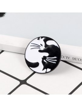 Cat Enamel Pin Black White Yin Yang Cat Brooches Tai Chi Animal Kitten Pins Badge Couples Brooch Lovers Jewelry Gift For Lover by Qihe Jewelry