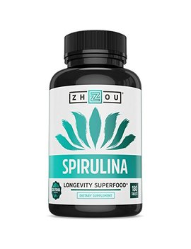 Non Gmo Spirulina Tablets, Highest Quality Spirulina On Earth, Sustainably Grown In California Without Pesticides, 100 Percents Vegetarian & Non Irradiated, 500mg In Each Small Tablet, 180 Count by Zhou Nutrition