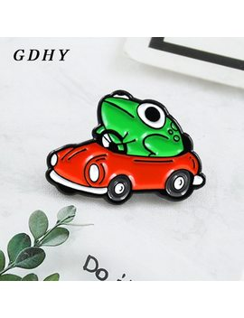 Gdhy Enamel Green Frog Brooch Frog Drive Red  Cars Brooch Cartoon For Kids Backpack Animal Frog Enamel Pins Badge Jewelry  by Gdhy