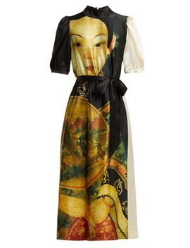 Belted Tang Dynasty Print Satin Dress by Simone Rocha