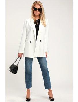 Imani White Oversized Blazer by Lulus