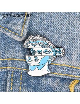 Qihe Jewelry Blue Flower Hair Statue Enamel Pin Classic Brooches Lapel Pins For Women Girl Men Badges Pins Up by Qihe Jewelry