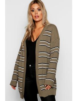 Plus Stripe Chunky Oversized Cardigan by Boohoo
