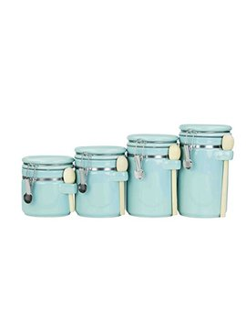 Home Basics 4 Pc Ceramic Canister Set W/Spoon (Turquoise) by Home Basics