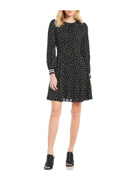 Long Sleve Pebble Crepe Dot Print Fit & Flare Dress by Vince Camuto