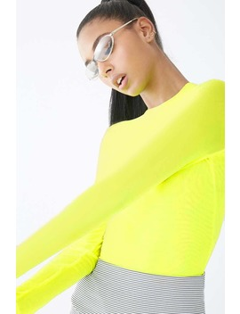 sheer-neon-mock-neck-bodysuit by forever-21