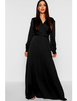 Satin Belted Wrap Maxi Dress by Boohoo