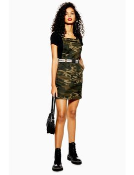 Camouflage Denim Clip Buckle Pinafore Dress by Topshop