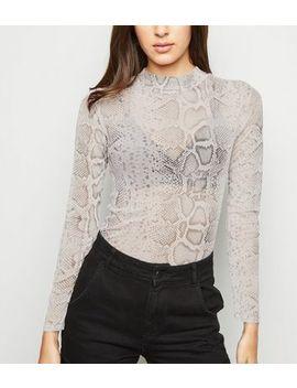 pink-snake-print-mesh-crop-top by new-look