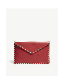 Rockstud Large Grained Leather Envelope Clutch by Valentino