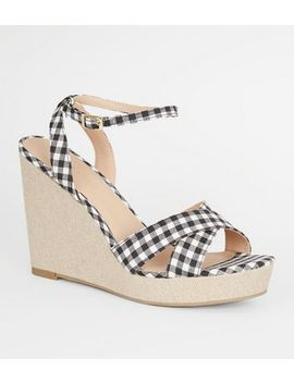 Black Gingham Cross Strap Wedges by New Look