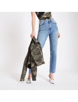 Mid Blue Straight Leg Jeans by River Island