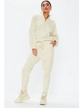 Cream High Waisted Drawstring Joggers by Missguided