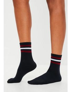 Navy Stripe Sports Socks by Missguided