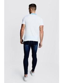 Short Sleeve Colour Block Knitted Polo by Boohoo