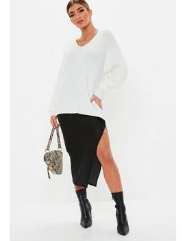 Tall Premium Cream V Neck Boyfriend Jumper by Missguided