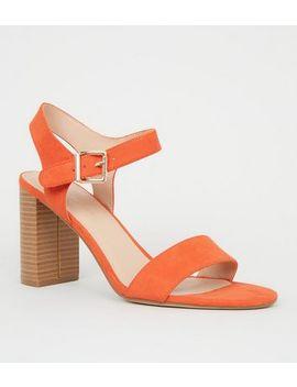 Wide Fit Orange Wood Effect Block Heel by New Look