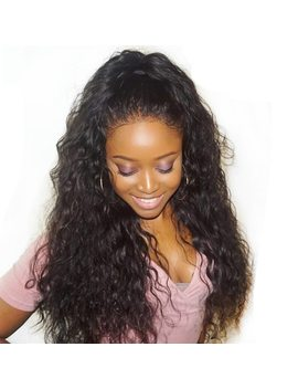 "Malaysian Water Wave 360 Lace Frontal Wig Pre Plucked With Baby Hair 180 Percents Density Remy Human Hair Wigs For Black Women 8"" 22"" by Alibele"