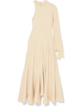Frayed One Sleeve Satin Maxi Dress by Chloé