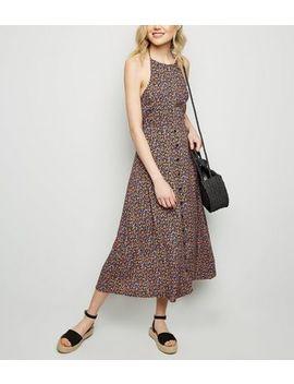 Black Floral Halterneck Midi Dress by New Look