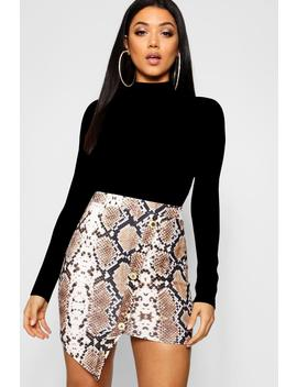 Asymmetric Gold Button Snake Print Mini Skirt by Boohoo