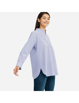 Extra Fine Cotton Stand Collar Long Sleeve Shirt by Uniqlo