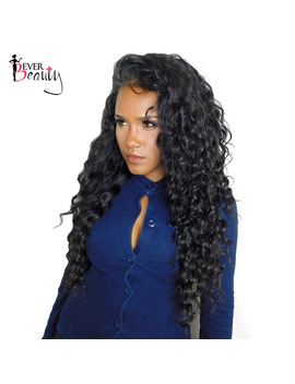 360 Lace Frontal Wig 180 Percents Density Deep Wave Brazilian Lace Front Human Hair Wigs For Women Remy Natural Black Ever Beauty  by Ever Beauty