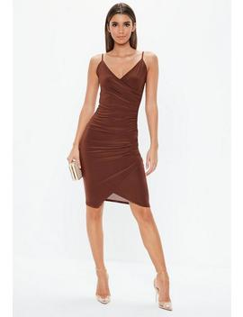 Chocolate Strappy Slinky Wrap Midi Dress by Missguided